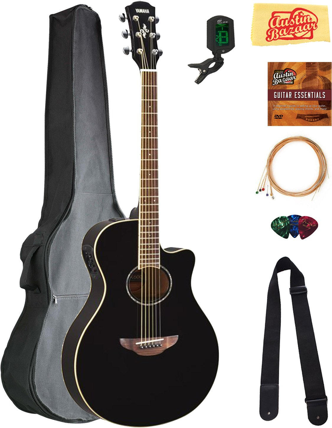 Yamaha APX600 Thin Body Acoustic-Electric Guitar - Black Bundle with Gig Bag, Tuner, Strings, Strap, Picks, Austin Bazaar Instructional DVD, and Polishing Cloth
