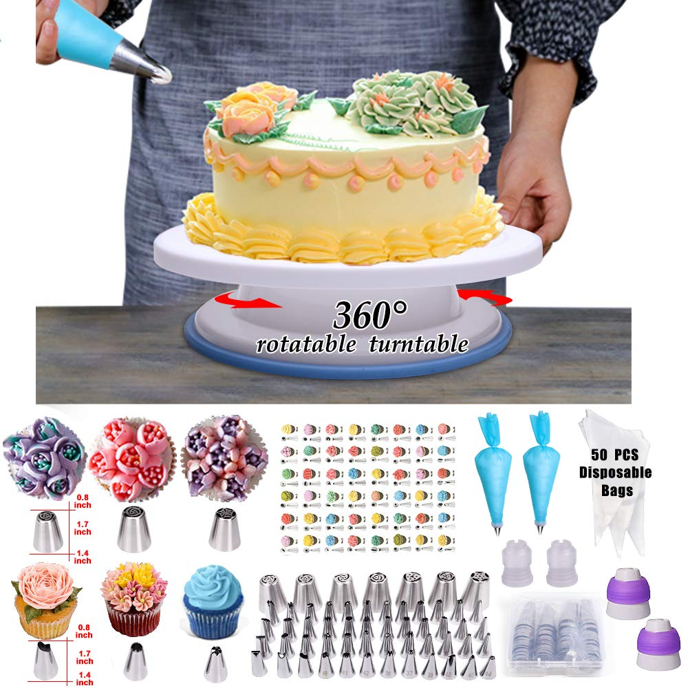 Cake Decorating Supplies,194 PCS Complete Baking Set with 4 Packs Springform Pan Sets,136 PCS Decorating Kits and 8 Silicone Cupcake Molds, Perfect Cake Baking Supplies for Beginners and Cake Lovers. by KOSBON (Image #5)