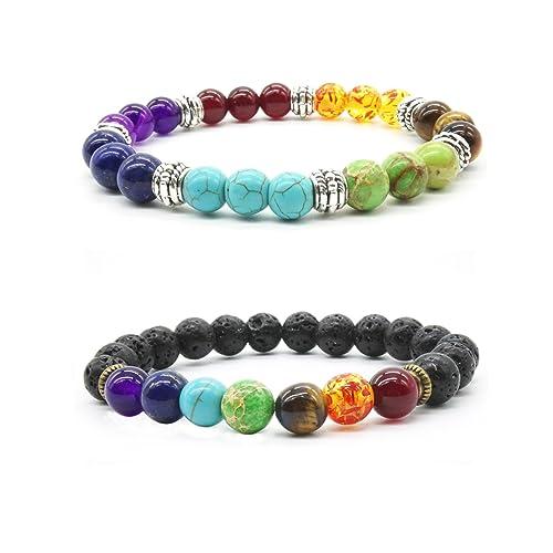 7 Reiki Lava Bracelet Natural Tiger Eye Stone Yoga Bracelet Chakra Stretch Bracelet Healing Balancing