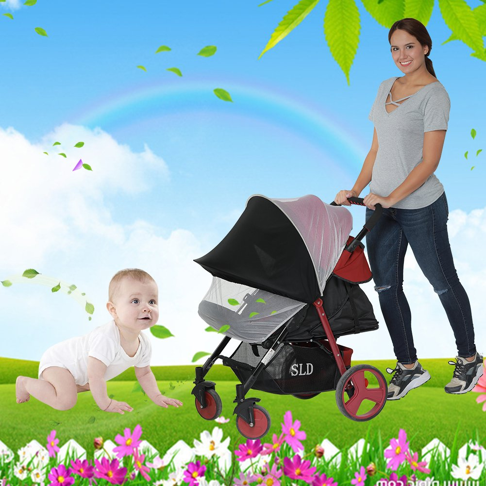 Kinderwagen Sonnenschutz, Samber Universal Faltbar Insektenschutz Mückennetz Sonnenschirm für Kinderwagen, Buggy und Reisebett