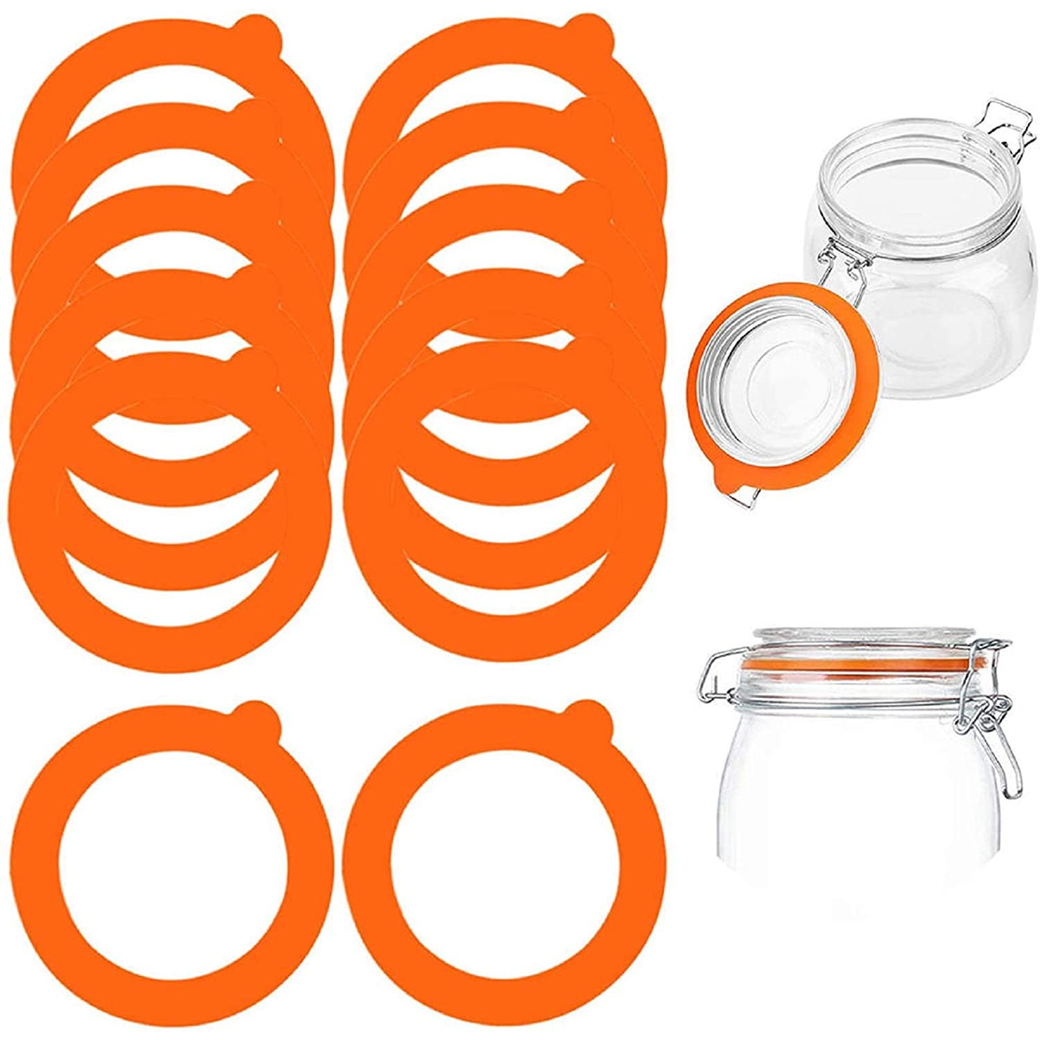 MIPAHI 12-Piece Silicone Replacement Gasket, Leak-Proof Mason Jar Lid Rubber Sealing Ring, Reusable Rubber O-Ring, for Refrigerator, Food Storage Rooms, Beverages, Fermentation Lids