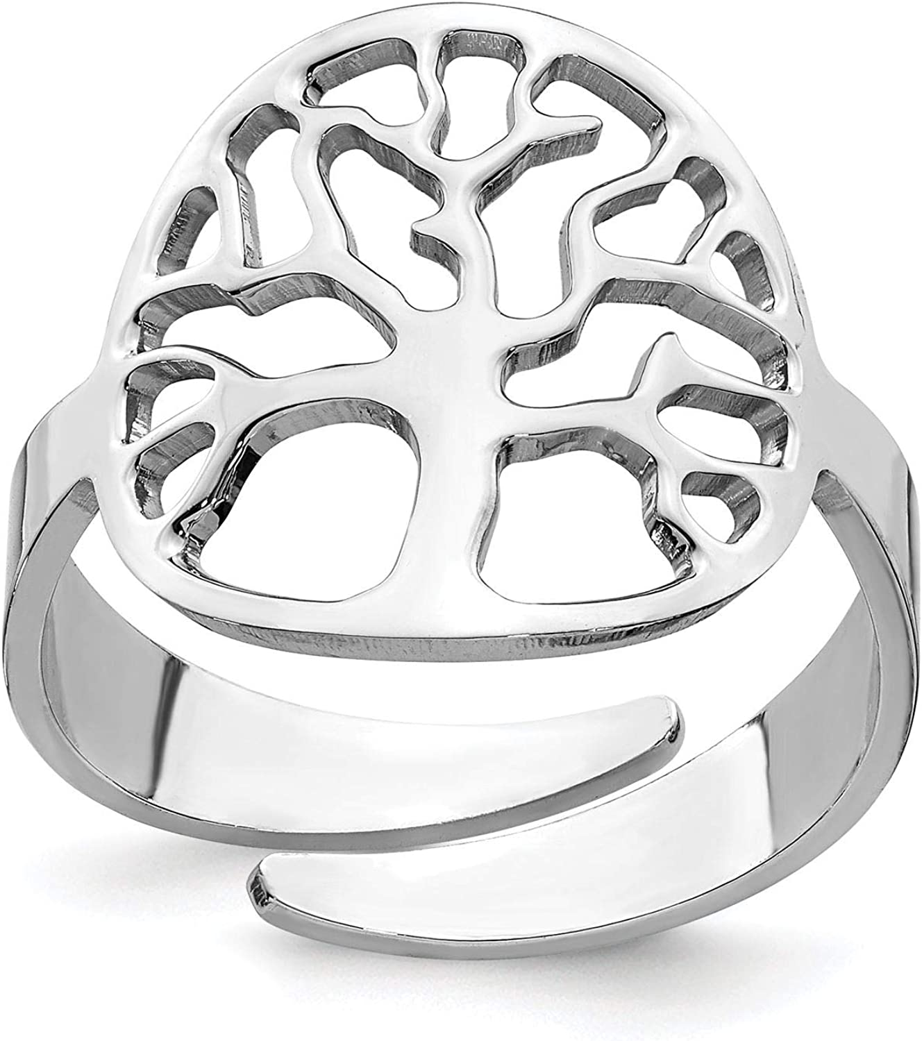 925 Sterling Silver Rhodium-plated Polished Tree Adjustable Ring