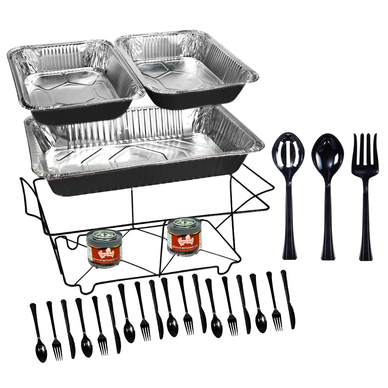 Tiger Chef 33-Piece Black Food Warmer Chafing Dish Buffet Set, Disposable Chafing Dishes with Colorful Baking Pans, Fuel Gel, Serving Utensils and Plastic Cutlery