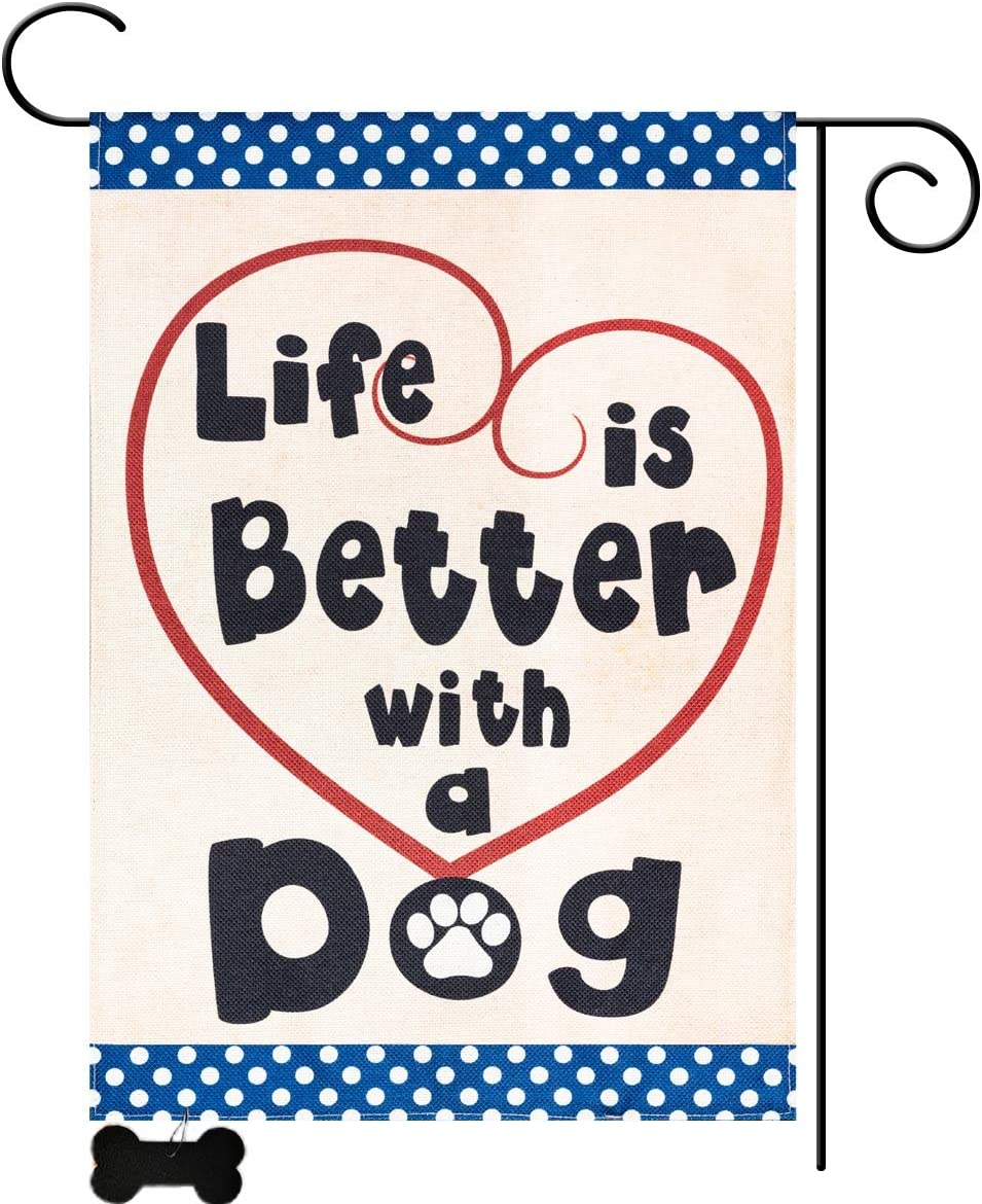 YEAHOME Garden Flag Yard Flag Vertical Double Sided Garden Decoration Life is Better with Dog Garden Burlap Flag Outdoor Décor for Pet Dog Lovers 12.5 x 18 Inch (No Flag Stand)