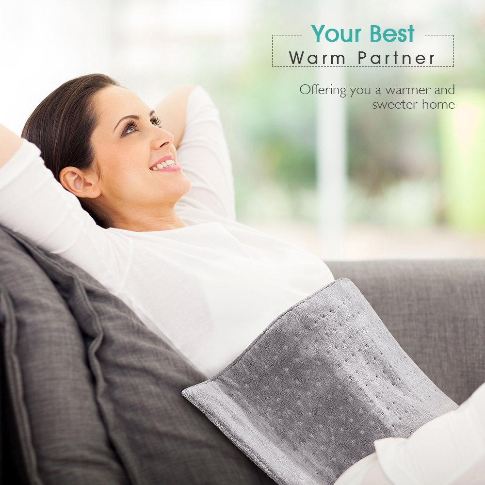Heating Pad, 12'' X 24'' Large Size Ultra Soft Heat Therapy Wrap for Back, Abdomen, Hand, Shoulder Legs, Waist, Dry/Moist Heating Pad with Auto Shut Off by PROALLER by PROALLER (Image #5)