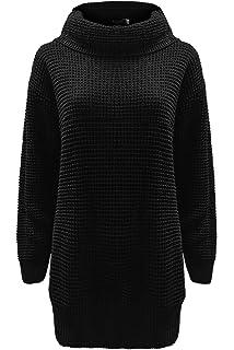Fashion Star Womens Long Sleeves Plain Cowl Roll Neck Chunky Knit Baggy Long  Jumper Dress 2279c8683
