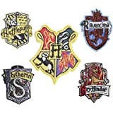 Set of 5 Hogwarts House Embroidery Patch Iron on or Sew on Griffindor, Slytherin, Ravenclaw, Hufflepuff, Embroidered Motif Harry potter Transfer Applique