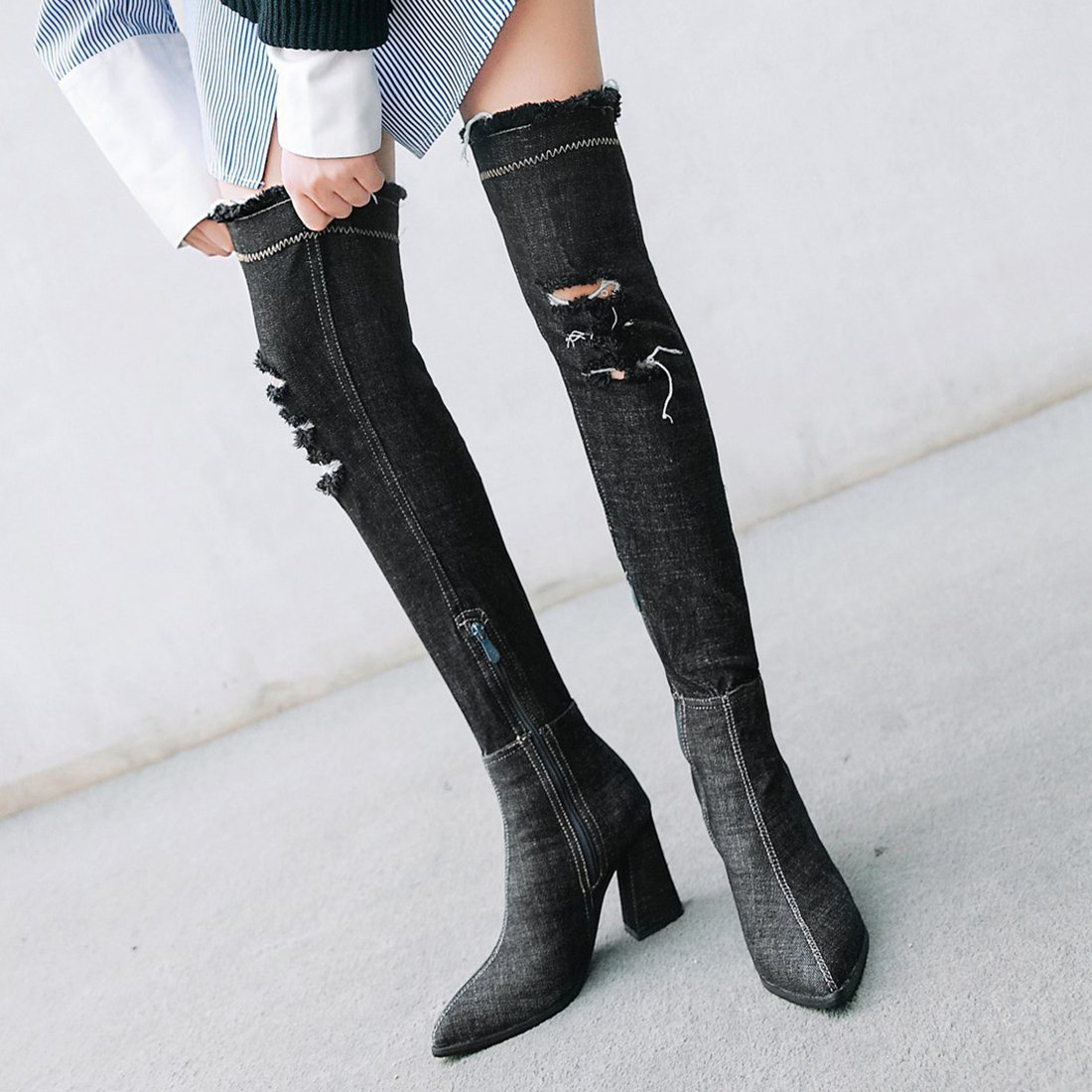 5e9ed0e5d1a5e Artfaerie Women s Fashion Denim Over Knee Boots Pointed Toe Block High Heel Thigh  High Boots  Amazon.co.uk  Shoes   Bags