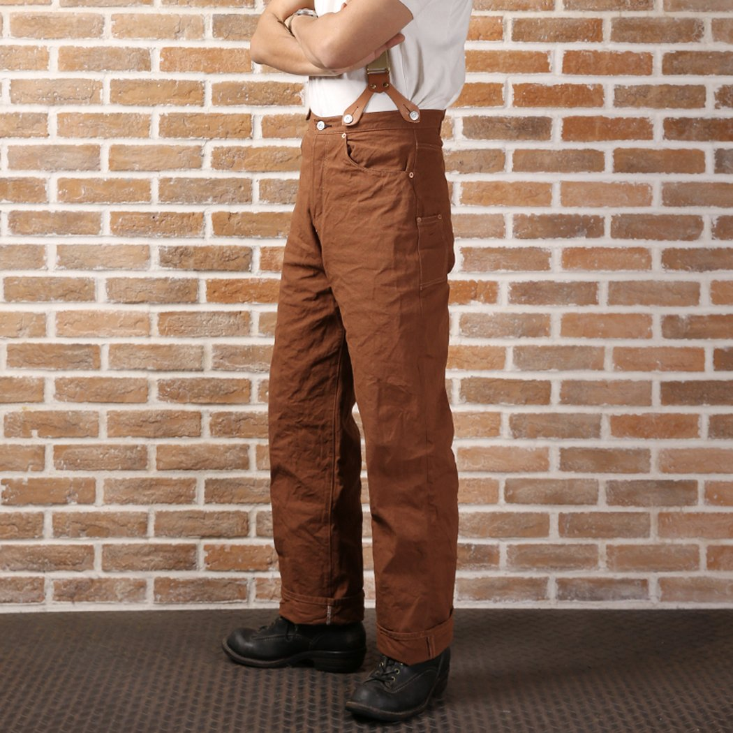 1940s Trousers, Mens Wide Leg Pants Bronson 873 Early Duck Red Ear Canvas Unwash Trousers Pants (29) $89.99 AT vintagedancer.com