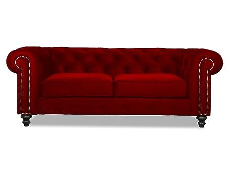 Merveilleux South Cone Home Nuremberg Tufted Sofa, 90u0026quot;, Red