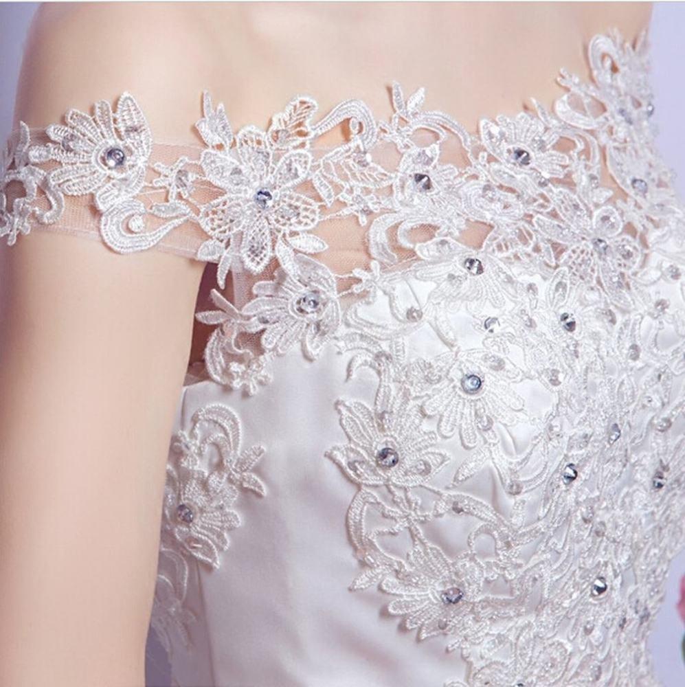 Amazon.com: MOMO Luxury high-end diamond lace word shoulder princess bride Slim large tail wedding dress,white,XL: Sports & Outdoors