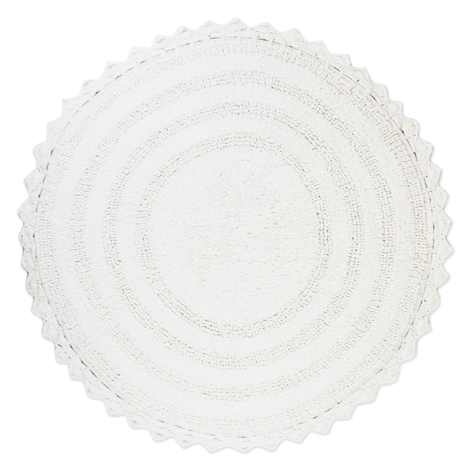 DII Ultra Soft Spa Cotton Crochet Round Bath Mat or Rug Place in Front of Shower, Vanity, Bath Tub, Sink, and Toilet, 28'' - White