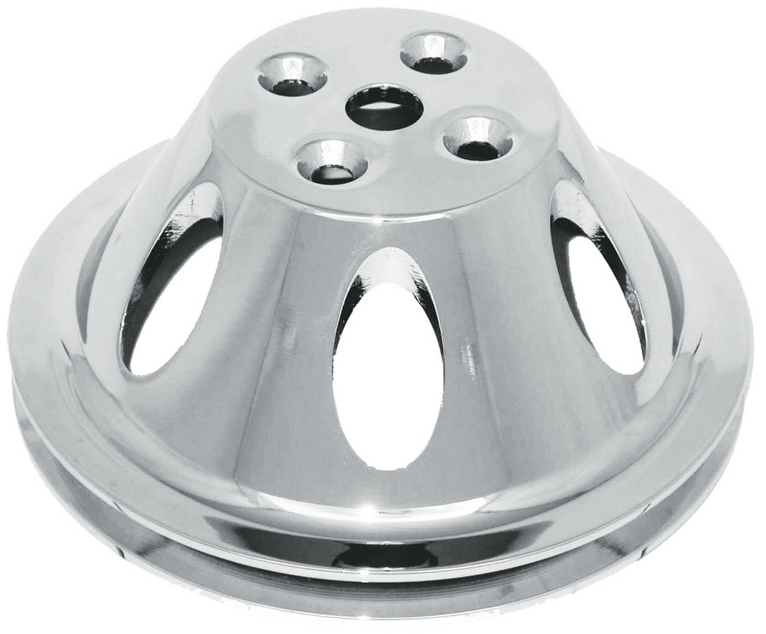 CSI C9478 Polished Aluminum Water Pump Pulley, Single Groove Chevy Small Block V8 Engine