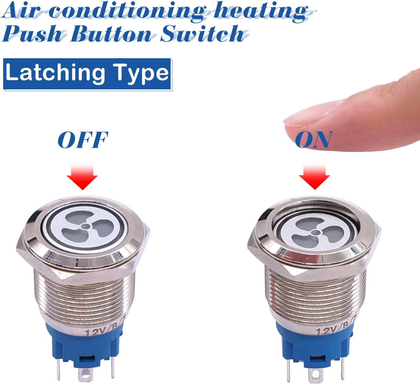 Taiss 12V 19mm Blue LED Illuminated Car Fan Push Button Switch 1NO 1NC 3//4 Mounting Hole Latching Type Silver Stainless Steel Metal Toggle Switch For Car Boat Part Modification TL19-FS-Bu