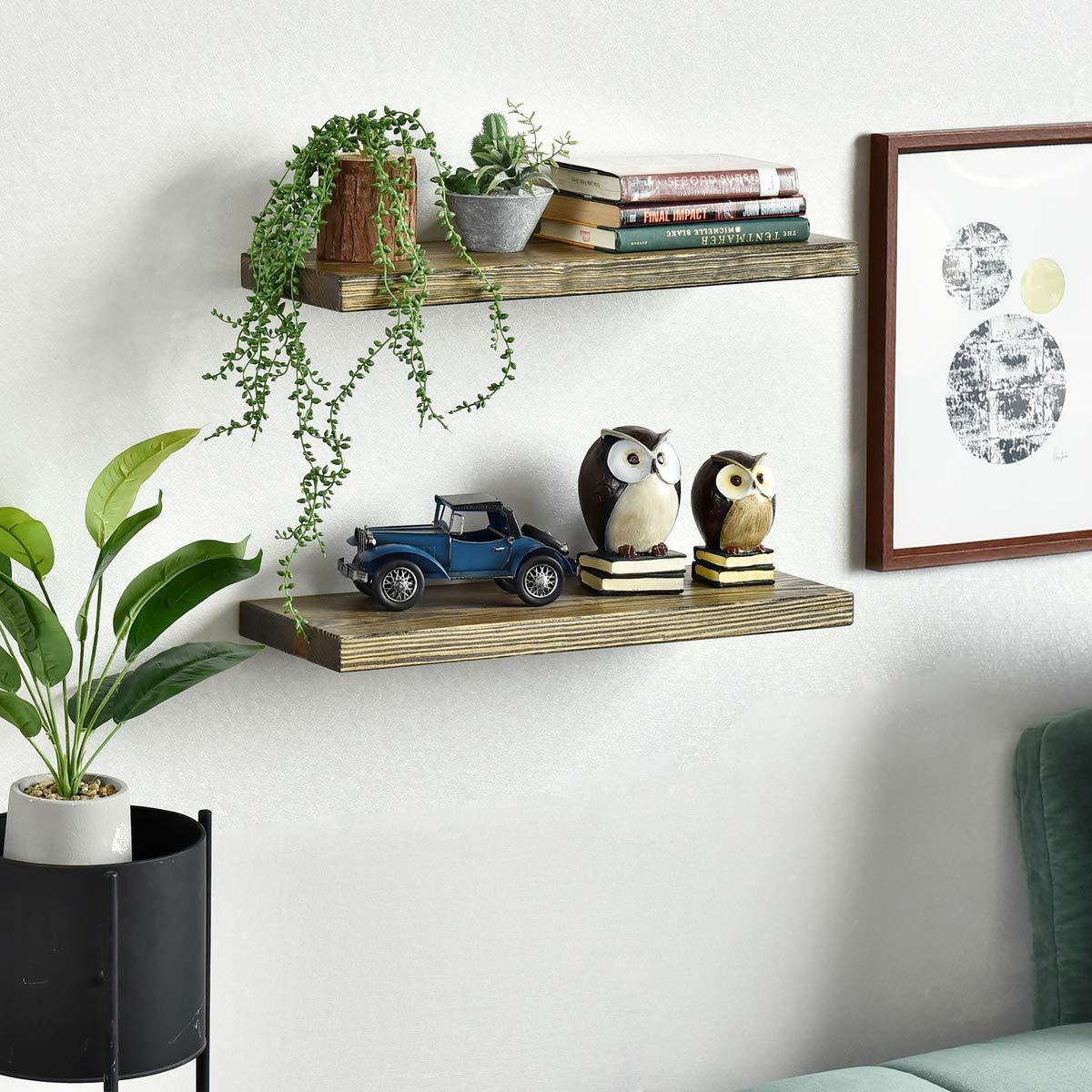 Set of 2, 24 inch WELLAND Allen 8 Deep Floating Shelves Set of 2 Reclaimed Wood Wall Shelf Rustic Pine Wall Mount Shelf
