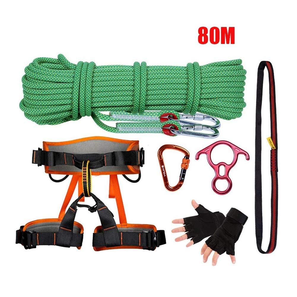 80M クライミングロープ屋外サバイバルキット多目的緊急機器応急手当サバイバルギアツールキットセット旅行ハイキングキャンプ安全ロープ   B07Q4N5XB7
