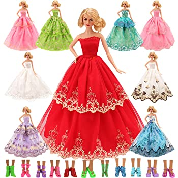 Barwa 15 Items=5 Pcs Quality Fashion Dresses Clothes 10 Shoes for Barbie Doll Gift