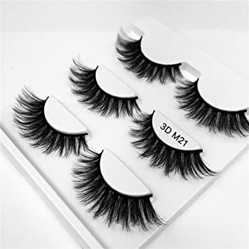 a9f3e9d888e Amazon.com : False Eyelashes-3 Pairs Black Eyelashes Natural Fake Eye Lashes  Long 3D Eyelashes Extension Mink Eyelashes for Beauty Tools Style M21 :  Beauty