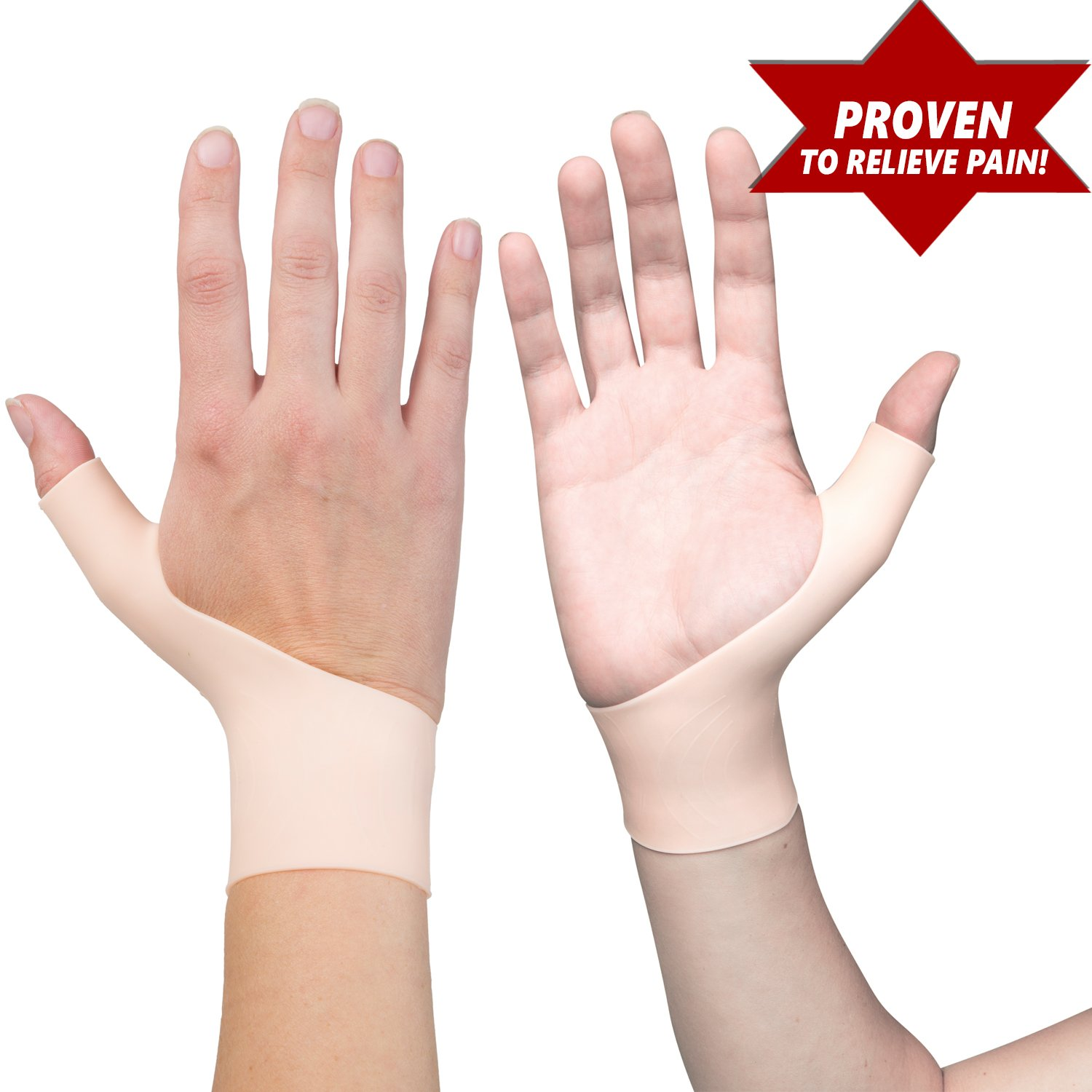 2 Premium Gel Wrist Support Braces for Right & Left Hand | Proven to Relieve Wrist & Thumb Pain Including Arthritis, Rheumatism, Carpal Tunnel, Tenosynovitis | Soft, Comfortable & Light Weight by Excelyfe (Image #1)