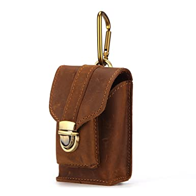 b79941d3f9b 2018 New Men s Mini Pockets Crazy Horse Leather Bag Wearing A Belt Leather  Buckle Pouch Bags