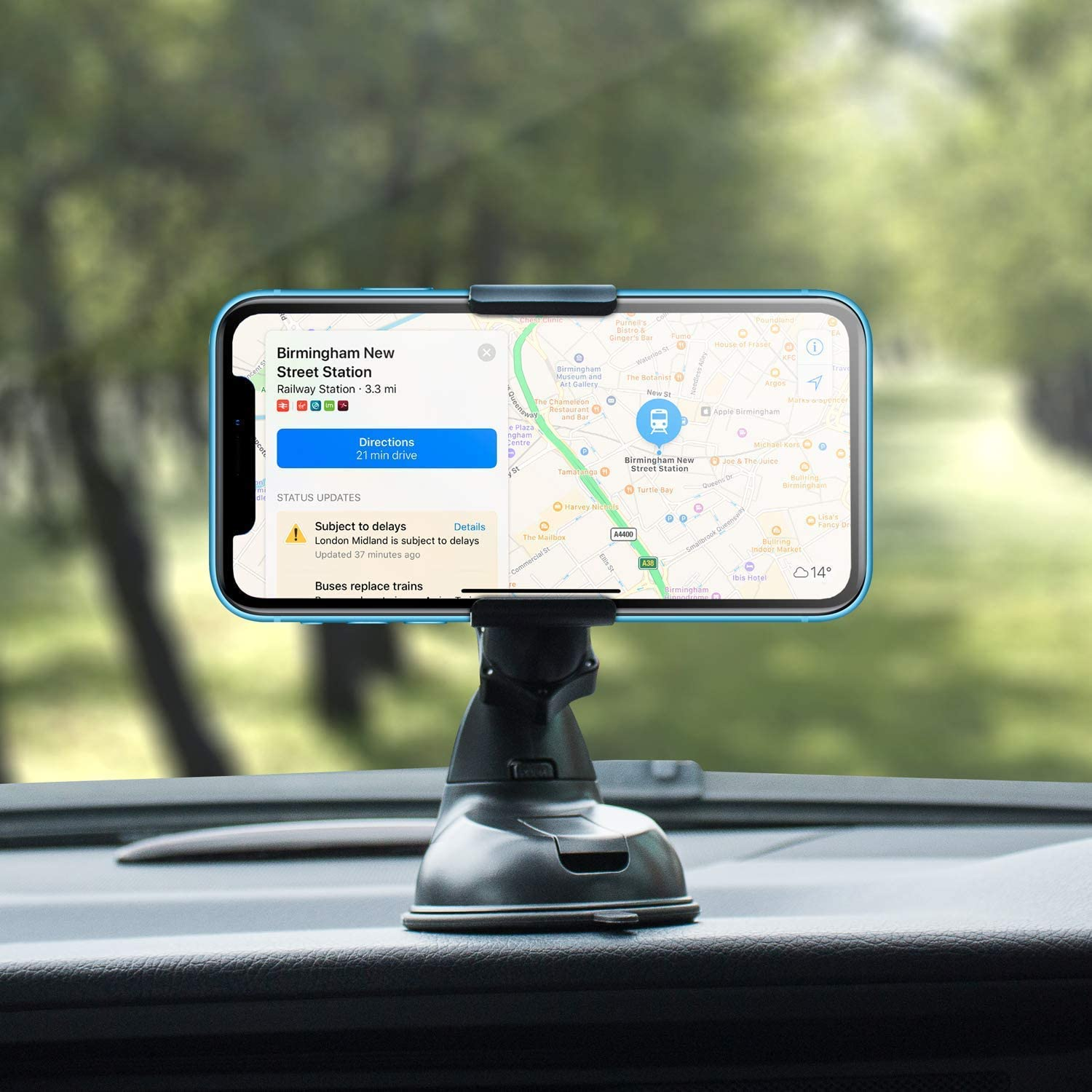 Samsung Huawei and more Universal Car Windshield Dock Olixar Windshield Phone Mount Phone Holder For Car Windshield 360 Degree Rotation Universal fits iPhone Black Dock /& Go