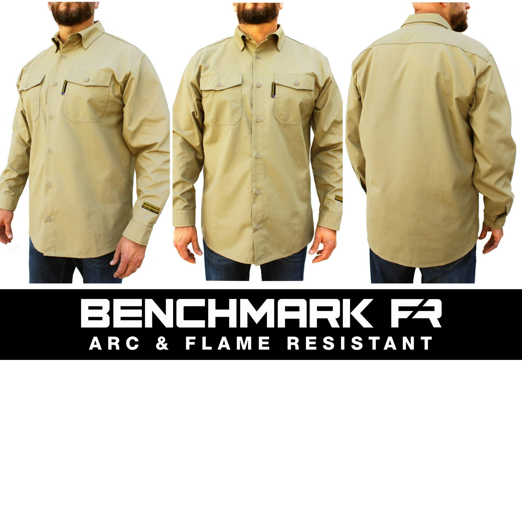 Benchmark FR Silver Bullet, 5.1 oz Ultra Lightweight FR Shirt, NPFA 2112 & CAT 2, Moisture Wicking, Men's FRC with 9 Cal rating, Made in USA, Advanced FR Materials, Beige, Large by Benchmark FR (Image #3)