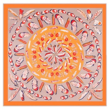 Suave Bufanda de Seda Mujeres Protector Solar Imprimir Toalla de Playa Azul Aire Acondicionado Mantón Mantener Caliente (Color : Naranja): Amazon.es: Hogar