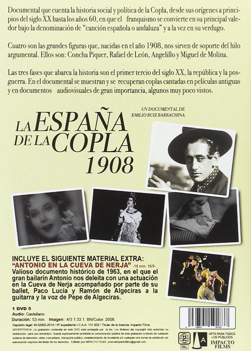 La España de la copla 1908 [DVD]: Amazon.es: Emilio Ruiz ...