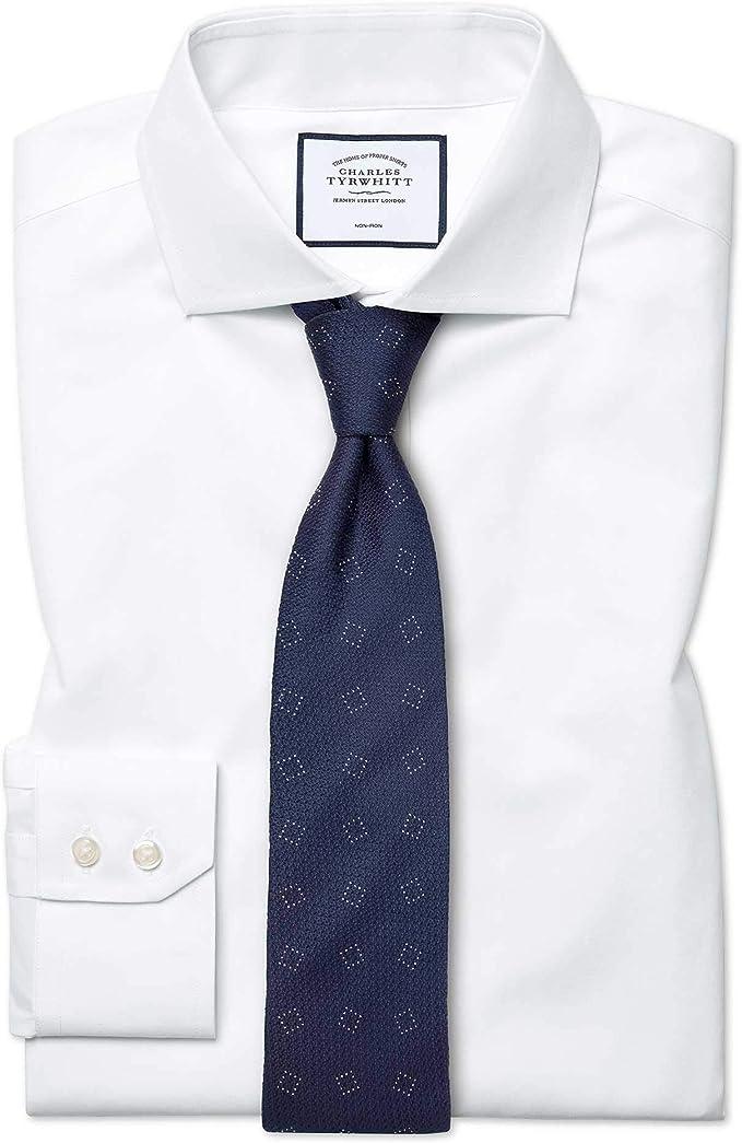 Camisa sin Plancha Blanca de Popelina y Corte clásico con Cuello Italiano