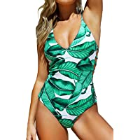 CUPSHE Women's Leaf V Neck Cutout Adjustable Straps One Piece Swimsuit