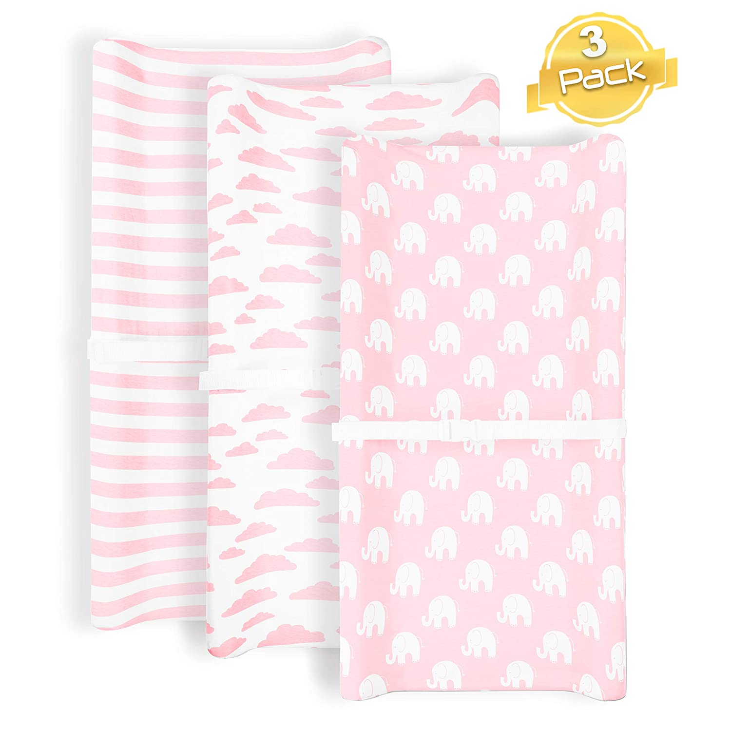 Changing Pad Cover | Pink Elephant