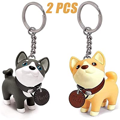 Finduat 2 Pcs Dog Keychain Charms, Shiba Inu Key Ring Husky Keychains Car Key Chain for Kids Adults, Birthday Party Centerpiece Decorations, Baby Shower Party Favors for Kids Birthday Party: Office Products