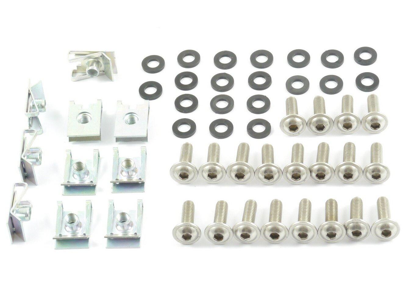 Tech-Parts-Koeln Motorrad Verkleidungsschrauben + Klemmen / Clips M6 Schrauben 6mm Set - 50 Teile