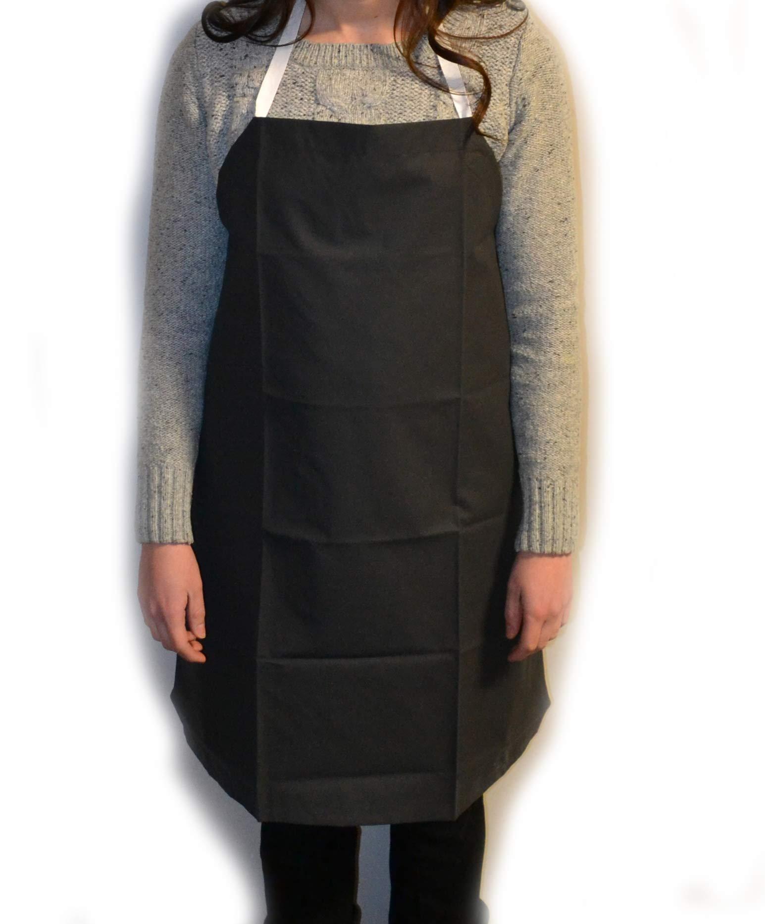 Eisco Labs Black Rubber Coated Cloth Bib Apron, Large (27''W x 42''L)