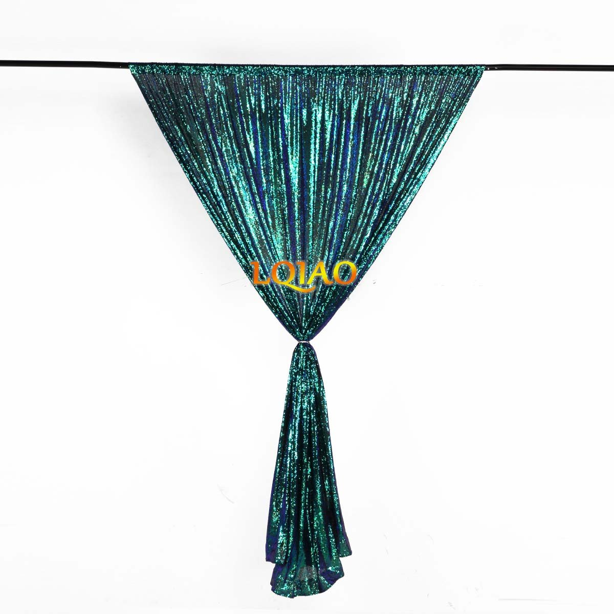 LQIAO Embroidered Sequin Fabric Backdrop Curtain 4FTx8FT Fluorescence Green Modern Window Drapes Sequin Curtain for living room/photo booth backdrop