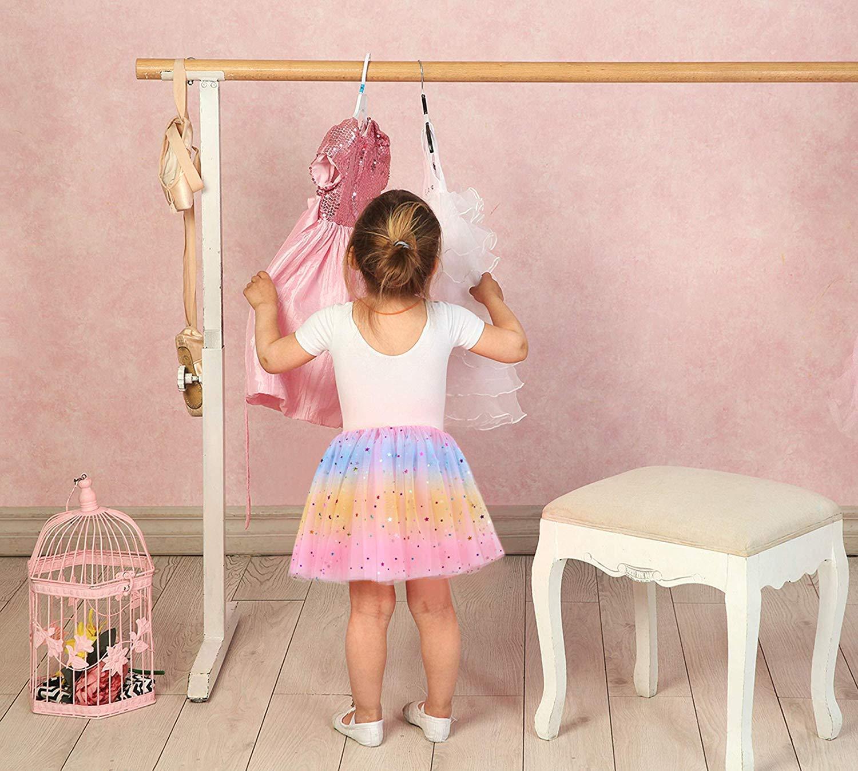 Ksnnrsng Filles B/éb/é Tutu Jupes Danse Classique de Tulle Pliss/é Paillettes Scintillantes Multicolore Ballet F/ête Robe