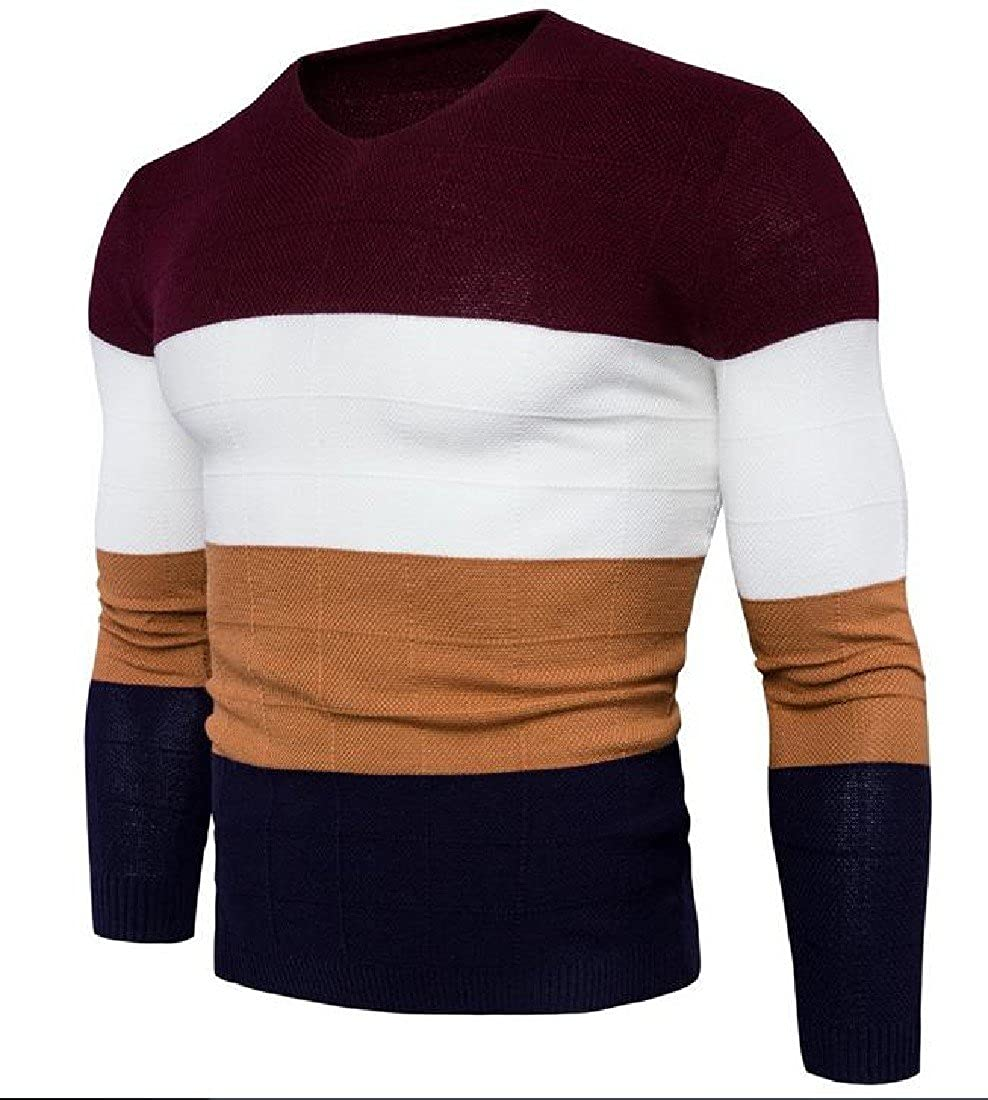 XTX Mens Casual Knit Slim Fit Solid Color Long Sleeve Pullover Sweater