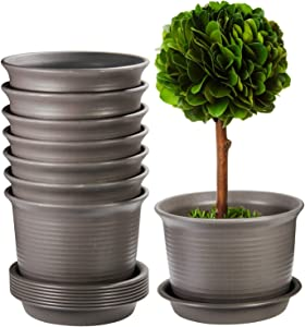 8 Inch Pots for Plants, ZOUTOG Plastic Flower Planter, Large Plant Pot with Drainage Hole and Tray, Pack of 8, Plants not Included