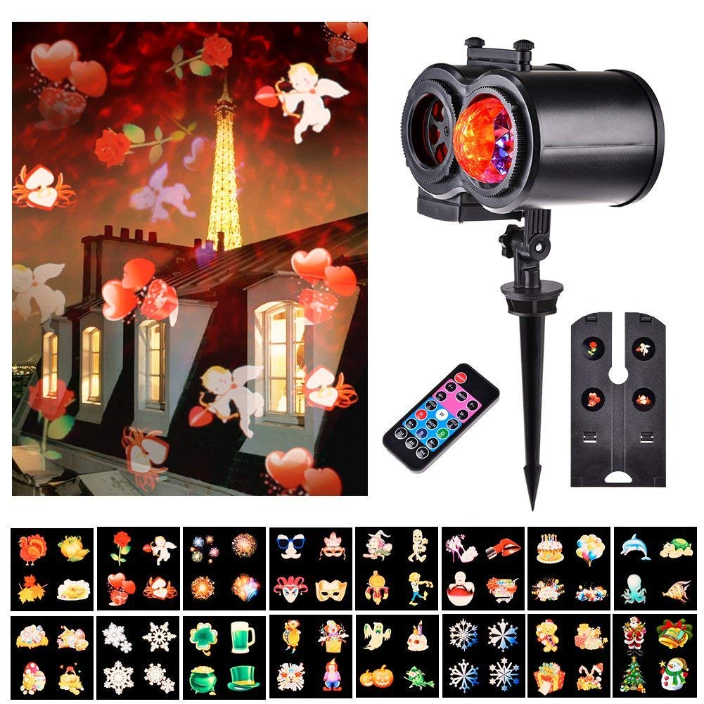 Echoming Ocean Wave Projector Lights, 16 Slides LED Home Snowflake Projector Lights  Outdoor Waterproof with Remote Control Waterproof Landscape Projector for Garden Bedroom Decoration