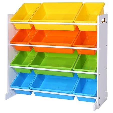 SONGMICS Estantería para Juguetes Libros Organizador para habitación Infantil 12 Cajas de Colores GKR04W: Amazon.es: Hogar