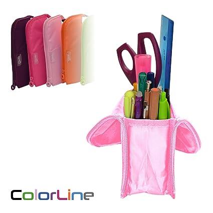 Colorline 59611 - Portatodo Cubi, Estuche Multiuso Convertible en Cubilete para Material Escolar. Color Rosa, Medidas 21.5 x 9 x 7 cm