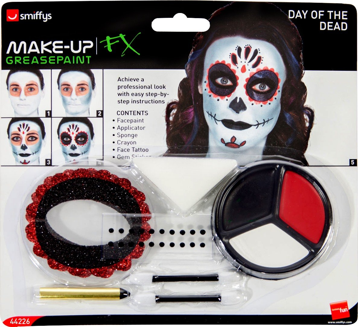 Smiffys Day of The Dead Make-Up Kit, with Face Paints