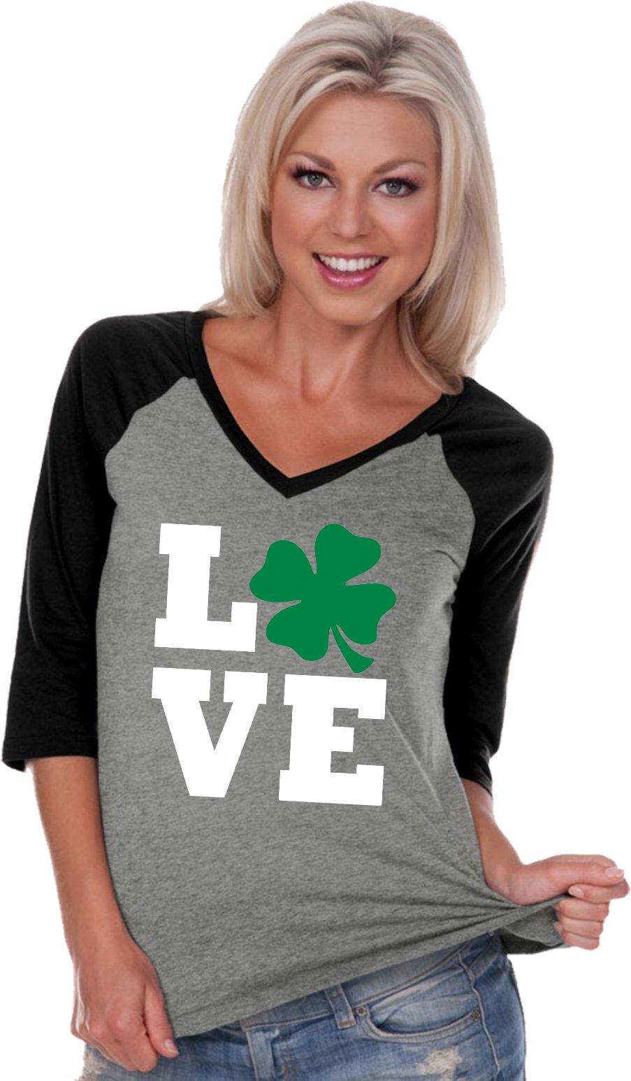 ST Patricks Day Love Shamrock Ladies V-Neck Raglan, Grey Black, XL