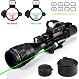 Hunting Rifle Scope Combo 4-16x50AO Dual Illuminated with Green Laser Sight 4 Holographic Reticle Red/Green Dot for Weaver/Rail Mount