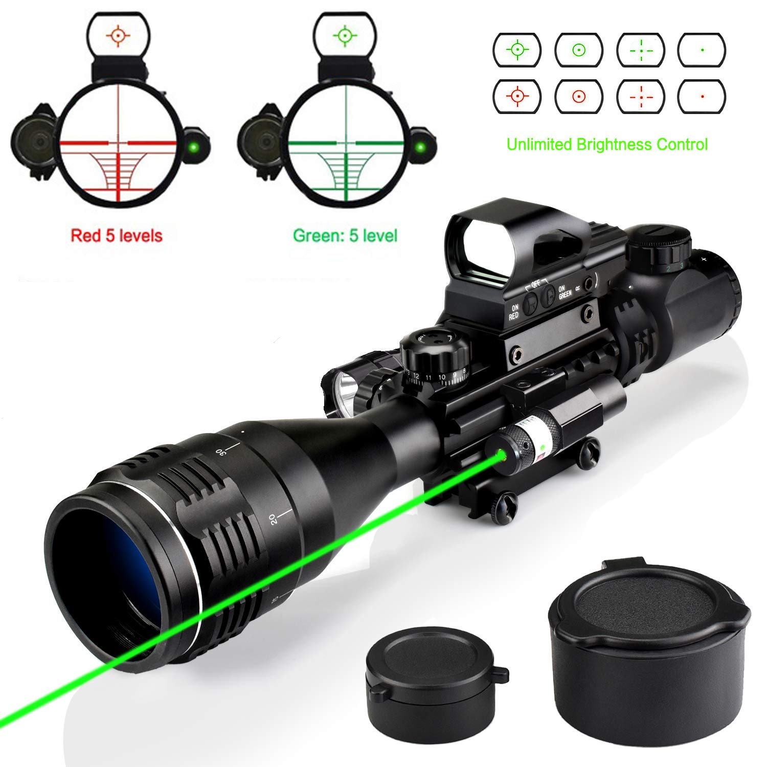 Rifle Scope Combo C4-12x50EG Dual Illuminated with Green Laser sight 4 Holographic Reticle Red/Green Dot for Weaver/Rail Mount by XopingABC