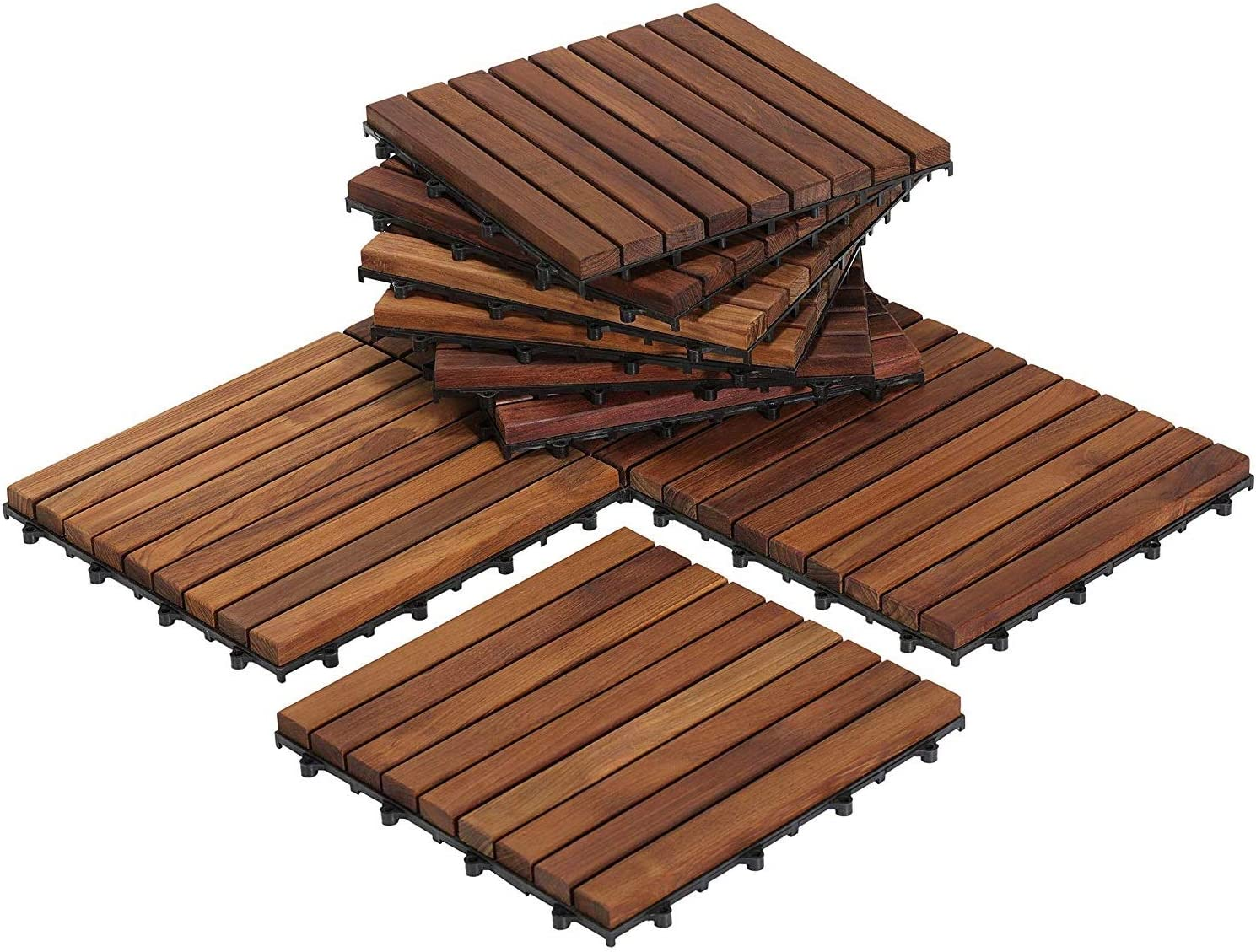 Juli EZ-Floor Interlocking Flooring Tiles in Solid Teak Wood Oiled Finish (Set of 10), Long 9 Slat