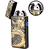 Sun_lighter Dual Arc Beam Electronic Lighter USB Rechargeable Flameless Windproof Candle Cigarette Dragon Lighter with Gift Box