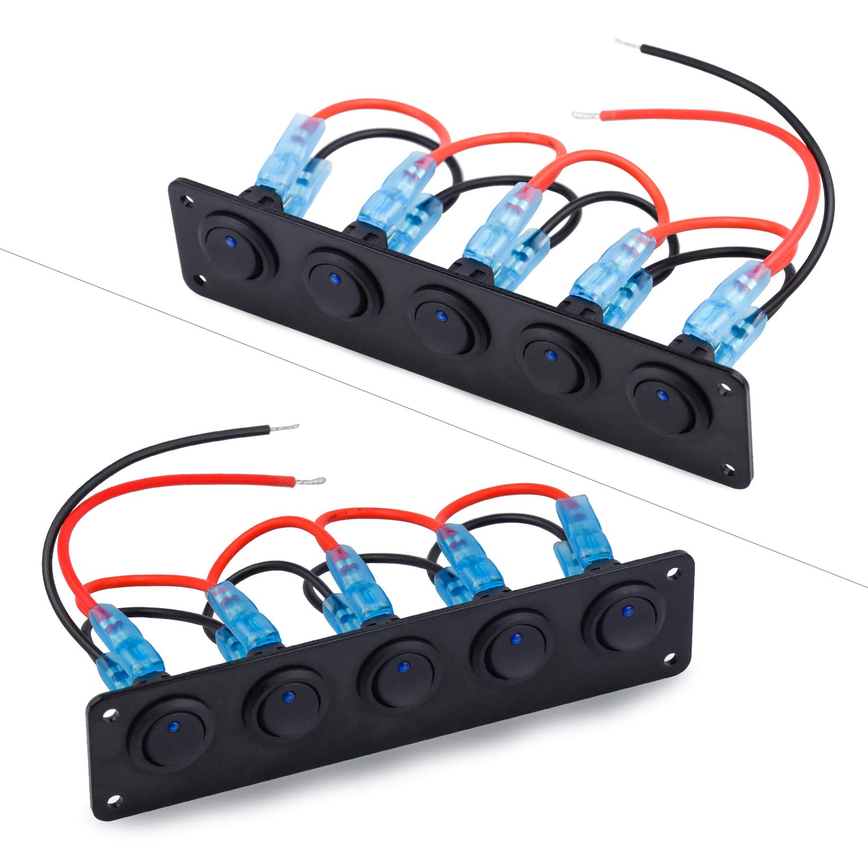 Panel de Interruptor de Palanca de Coche LED Panel de Control de Interruptor Eje Balanc/ín 12V-24V para Coche RV Barco 5 Cuadrillas Luz Azul Interruptor Basculante Panel WEKON Panel de Interruptor
