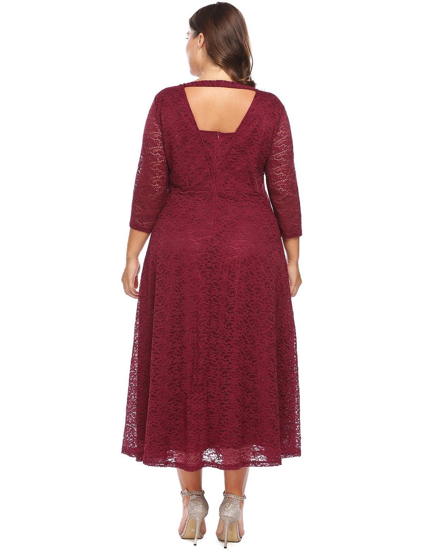 Chigant Damen Plus Size Große Größen Elegantes Langes Spitzenkleid ...