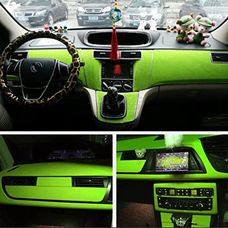 HOHO Light Green Suede Velvet Fabric Auto Car Body Change Color Film Vinyl  Wrap Interior Sticker
